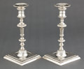 Silver Holloware, British:Holloware, A PAIR OF JOHN PERRY GEORGE II SILVER CANDLESTICKS . John Perry,London, England, circa 1758-1759. Marks: (lion passant), (l...(Total: 2 Items)