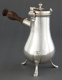 A FRENCH SILVER CHOCOLATE POT Maker unidentified, Paris, France, circa 1840 Marks: (crab), BRP (und
