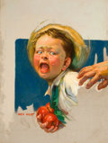 Pulp, Pulp-like, Digests, and Paperback Art, NELL INEZ HOTT (American, 20th Century). Young Apple Stealer,magazine cover. Oil on canvas. 24 x 18 in.. Signed lower l...