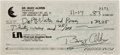 Autographs:Celebrities, Buzz Aldrin 1983 Personal Check Signed....
