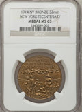Expositions and Fairs, 1914 New York Tercentenary Medal MS63 NGC. Bronze, 32 mm....