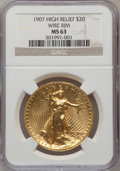 High Relief Double Eagles: , 1907 $20 High Relief, Wire Rim MS63 NGC. NGC Census: (411/691). PCGS Population (940/1415). Mintage: 11,250. Numismedia Wsl...