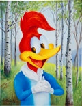 Movie/TV Memorabilia:Memorabilia, A Woody Woodpecker Oil Painting by Walter Lantz, 1970s....