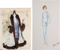 Movie/TV Memorabilia:Memorabilia, Two Julie Andrews Costume Design Sketches, 1960s-1970s.... (Total:2 Items)