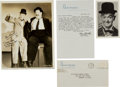 Movie/TV Memorabilia:Autographs and Signed Items, A Stan Laurel Signed Photo and Letter.... (Total: 4 Items)