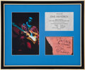 Music Memorabilia:Autographs and Signed Items, Jimi Hendrix Autograph Display (1968)....