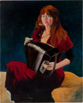 "Music Memorabilia:Original Art, Stanley Mouse ""Accordion Girl"" Painting Original Art (1996)...."