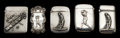 Silver Smalls:Match Safes, A GROUP OF FIVE AMERICAN SILVER GOLF THEMED MATCH SAFES . 4.7 troyounces. ... (Total: 5 Items)