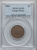 Two Cent Pieces: , 1864 2C Large Motto AU53 PCGS. PCGS Population (20/949). NGCCensus: (9/1366). Mintage: 19,847,500. Numismedia Wsl. Price f...