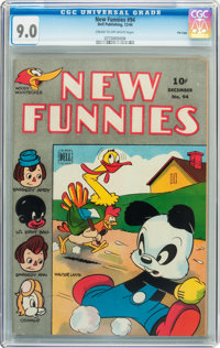 New Funnies #94 Cream to off-white pages (Dell, 1944) CGC VF/NM 9.0 Cream to off-white pages