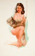 Pin-up and Glamour Art, TED WITHERS (American, 1896-1964). Brown & Bigelow ArtistSketch Pad calendar pin-up, May 1958. Oil on masonite. 29.5 x...