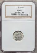 Barber Dimes: , 1911-D 10C MS62 NGC. NGC Census: (23/157). PCGS Population(19/206). Mintage: 11,209,000. Numismedia Wsl. Price for problem...