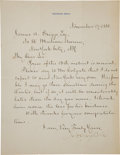 "Autographs:U.S. Presidents, James A. Garfield Letter Signed ""J. A. Garfield"" asPresident-Elect...."