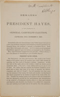 "Autographs:U.S. Presidents, Rutherford B. Hayes Printed Speech Pamphlet Signed ""WithCompliments R B Hayes""...."