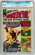 Silver Age (1956-1969):Superhero, Daredevil #1 (Marvel, 1964) CGC VG+ 4.5 Cream to off-white pages....