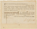 Autographs:U.S. Presidents, [Revolutionary War] Thomas Jefferson Military Appointment Signed as Governor of Virginia....