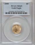 Modern Bullion Coins, 2008 G$5 Gold One-Tenth Ounce MS69 PCGS. PCGS Population (218/60).(#393096)...