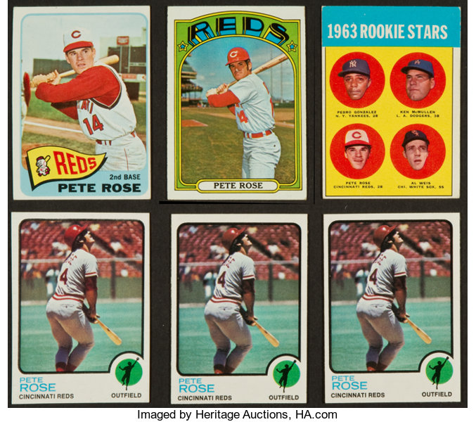 1963 To 1973 Topps Pete Rose Collection 6 Including 63