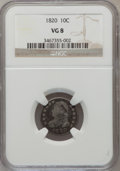 Bust Dimes: , 1820 10C Large 0 VG8 NGC. NGC Census: (4/223). PCGS Population(3/164). Mintage: 942,587. Numismedia Wsl. Price for problem...
