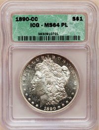 1890-CC $1 MS64 Prooflike ICG. NGC Census: (59/7). PCGS Population (98/13). Numismedia Wsl. Price for problem free NGC/P...