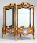 Furniture : French, A PAIR OF IMPORTANT KINGWOOD AND TULIPWOOD GILT BRONZE MOUNTEDVITRINE CABINETS WITH WEDGWOOD JASPERWARE PLAQUES, SIGNED FRANÇ...(Total: 2 Items)