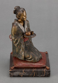 AN AUSTRIAN EROTIC COLD PAINTED BRONZE ATTRIBUTED TO FRANZ XAVIER BERGMAN: GEISHA