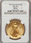 High Relief Double Eagles: , 1907 $20 High Relief, Wire Rim MS66 NGC. NGC Census: (25/8). PCGSPopulation (70/23). Mintage: 11,250. Numismedia Wsl. Pric...