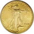 Saint-Gaudens Double Eagles: , 1909/8 $20 MS62 PCGS. The 1909 double eagles are about evenly splitbetween regular-date and overdate varieties. The Mint S...