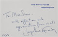 Autographs:U.S. Presidents, Jacqueline Kennedy Autograph Note Signed...