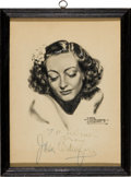 Movie/TV Memorabilia:Autographs and Signed Items, A Joan Crawford Signed Sketch....