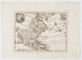 Books:Maps & Atlases, [Maps]. Engraved Map of North America. [N.p., n.d., ca. 1650]. Oneleaf excised from unknown book. with a large segment of N...