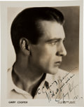 Movie/TV Memorabilia:Autographs and Signed Items, A Gary Cooper Signed Black and White Photograph, 1931....