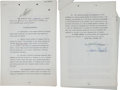 "Movie/TV Memorabilia:Autographs and Signed Items, A James Stewart Signed ""The FBI Story"" Contract Plus A Letter fromJ. Edgar Hoover, 1957-1958.... (Total: 2 Items)"