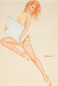Pin-up and Glamour Art, JOSEPH F. DE MARTINI (American, b. 1927). Read head withNewspaper. Watercolor on board. 22 x 17 in.. Signed centerrigh...