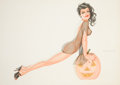 Pin-up and Glamour Art, JOSEPH F. DE MARTINI (American, b. 1927). Halloween Pin-Up.Watercolor on board. 19 x 27 in.. Signed center right. ...
