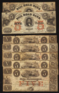 Obsoletes By State:Michigan, Adrian, MI- Erie and Kalamazoo Rail-Road Bank $5 Five Examples with Handwritten Dates and Two Examples Aug. 1, 1853. ... (Total: 7 notes)