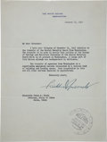 Autographs:U.S. Presidents, Franklin D. Roosevelt Typed Letter Signed as President....