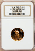 Modern Bullion Coins: , 1998-W G$10 Quarter-Ounce Gold Eagle PR70 Ultra Cameo NGC. NGCCensus: (585). PCGS Population (133). Numismedia Wsl. Price...