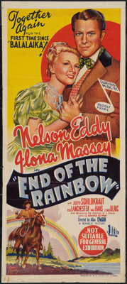 """Northwest Outpost (Republic, 1947). Australian Daybill (13"""" X 30""""). Musical. Also known as End of the Rainbow..."""