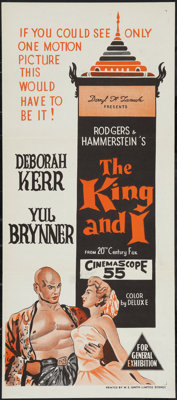 "The King and I (20th Century Fox, 1956). Australian Daybill (13"" X 30""). Musical"