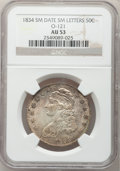 Bust Half Dollars, 1834 50C Small Date, Small Letters AU53 NGC. O-121, R.3....