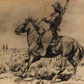 Works on Paper, PRIVATE COLLECTION, NORTHERN CALIFORNIA. EDWARD BOREIN (American, 1873-1945). Cowboy on Horseback . Ink and pencil on ...