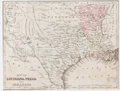 Books:Maps & Atlases, [Maps]. Hand-colored Map of Louisiana, Texas and Arkansas. [N.p., n.d., ca. 1890]. One leaf excised from a book, cut without...