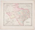 Books:Maps & Atlases, [Maps]. [Hand-Colored Map of Texas]. New York: Colton, [n.d, ca.1870]. With the accompanying page of text of statistics, en...(Total: 2 Items)
