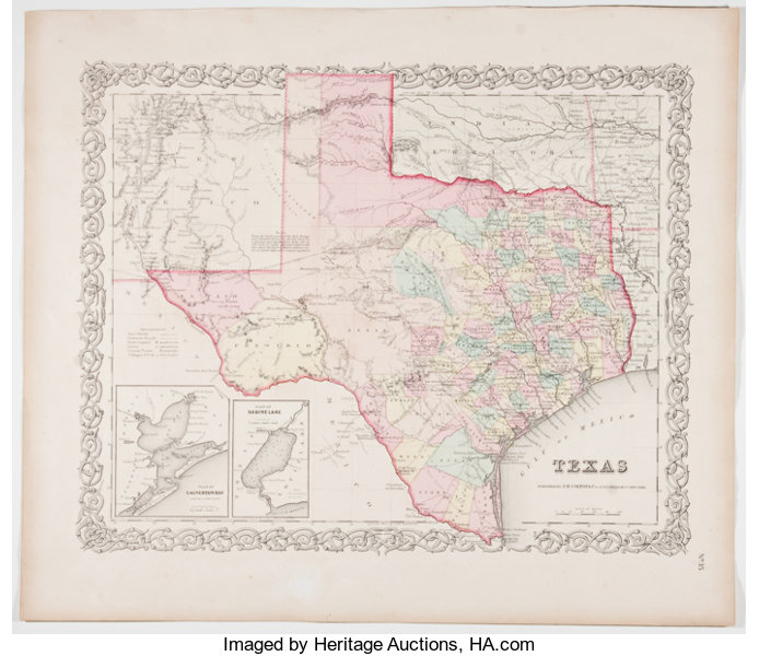 1870 Map Of Texas.Maps Hand Colored Map Of Texas New York Colton N D Lot