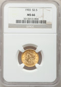 Liberty Quarter Eagles, 1903 $2 1/2 MS66 NGC....