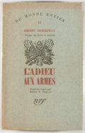 Books:Literature 1900-up, Ernest Hemingway. L'Adieu aux Armes. [A Farewell to Arms].[Paris: Gallimard, 1931]. First French edition, limited t...