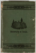 Books:Americana & American History, J. J. Lane. History of the University of Texas. Austin:Henry Hutchings, 1891. First edition, first printing. Oc...