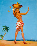 Pin-up and Glamour Art, AMERICAN ARTIST (20th Century). Pin-Up with Fruit Basket on theBeach. Oil on canvas. 30 x 24 in.. Signed lower left. ...