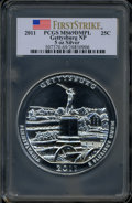 2011 25C Gettysburg National Park Five Ounce Silver, First Strike MS69 Deep Mirror Prooflike PCGS. PCGS Population (1329...